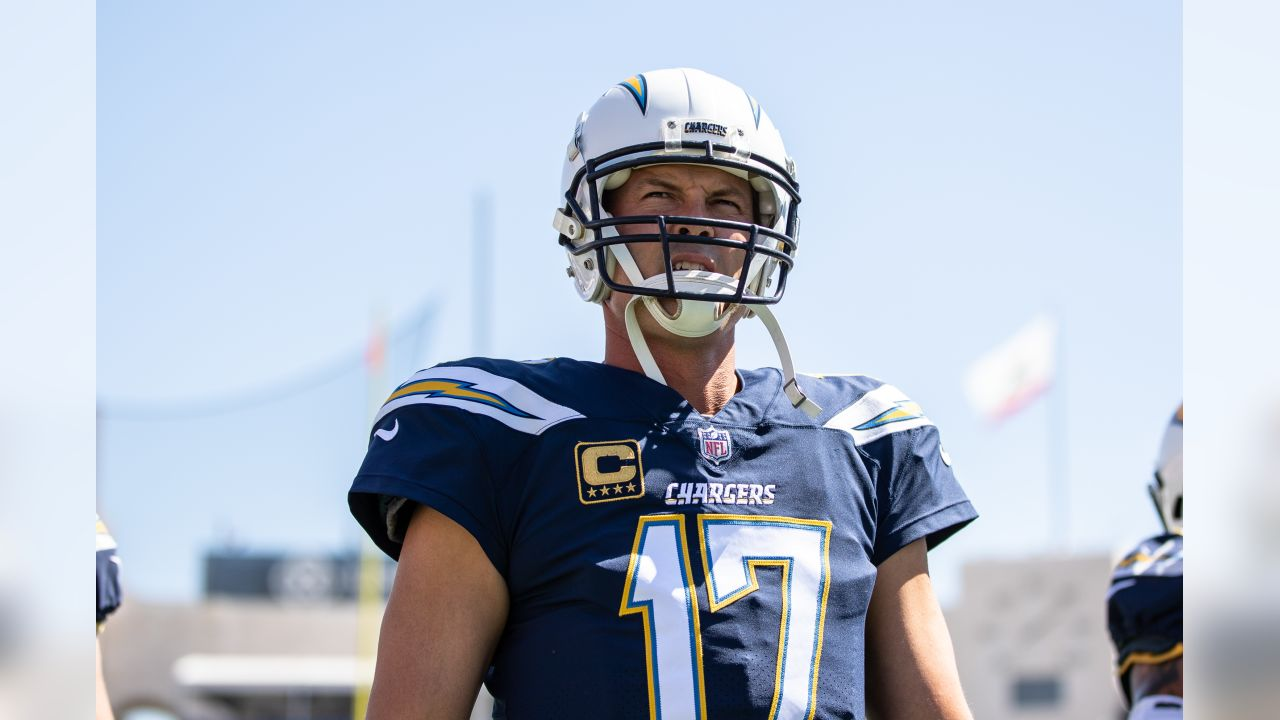 Philip Rivers looks on during the Bolts' Week 3 matchup against the Rams at the LA Memorial Coliseum.