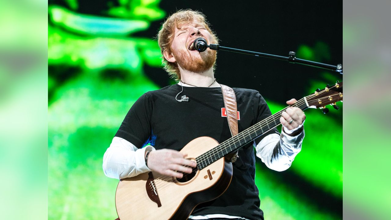 Ed Sheeran performing at Arrowhead Stadium during his 2018 North American Stadium Tour on October 13, 2018