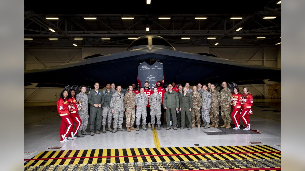 Chiefs wide receivers, cheerleaders and KC Wolf toured several hangars housing A-10 Warthogs and a B-2 Stealth Bomber and met with service men and women to sign autographs and thank them for their service.