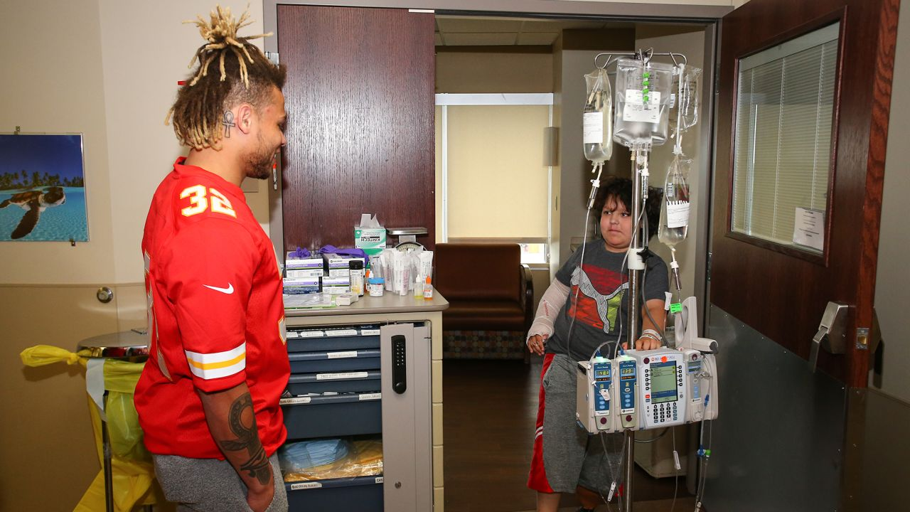 Current and former members of the Kansas City Chiefs visited The University of Kansas Health System to inspire and share hope to those fighting battles in the pediatric unit.