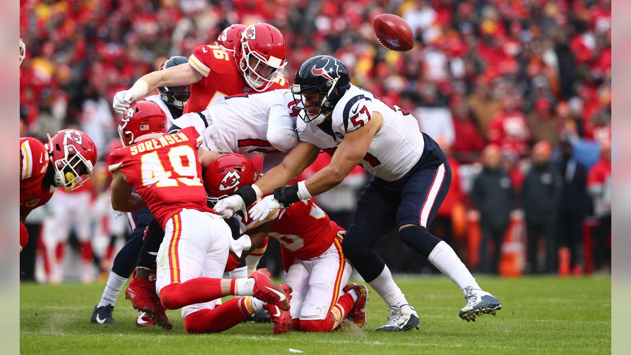 The Kansas City Chiefs take on the Houston Texans in the NFL Divisional Playoff game at Arrowhead Stadium on January 12, 2019.