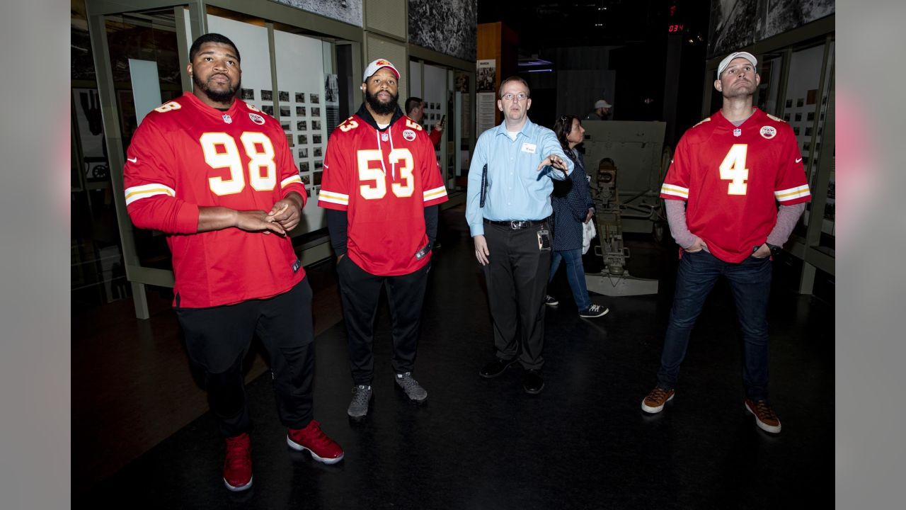 Kansas City Chiefs defensive tackle Xavier Williams (98), quarterback Chad Henne (4) and linebacker Anthony Hitchens (53) visit the World War One Museum on 10/26/18