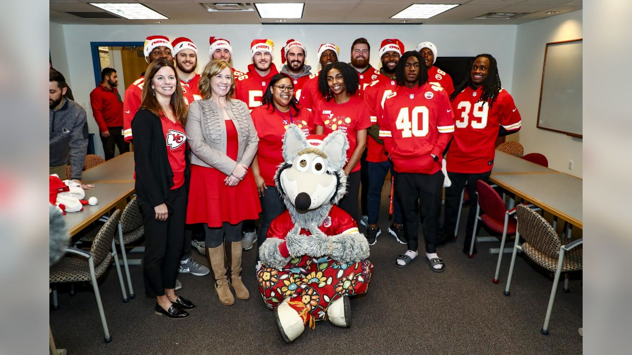 The Chiefs Rookie Club visited the Children's Center Campus for its annual holiday visit. Rookies spent time with groups from Ability KC, YMCA Day Camp and the Children's Center for the Visually Impaired (CCVI). The rookies also assisted the kids in activities including crafts, cookie decorating and Play 60 activities. KC Wolf and Chiefs Cheerleaders were also on hand to visit classrooms and distribute plush toys, donated by the Chiefs.