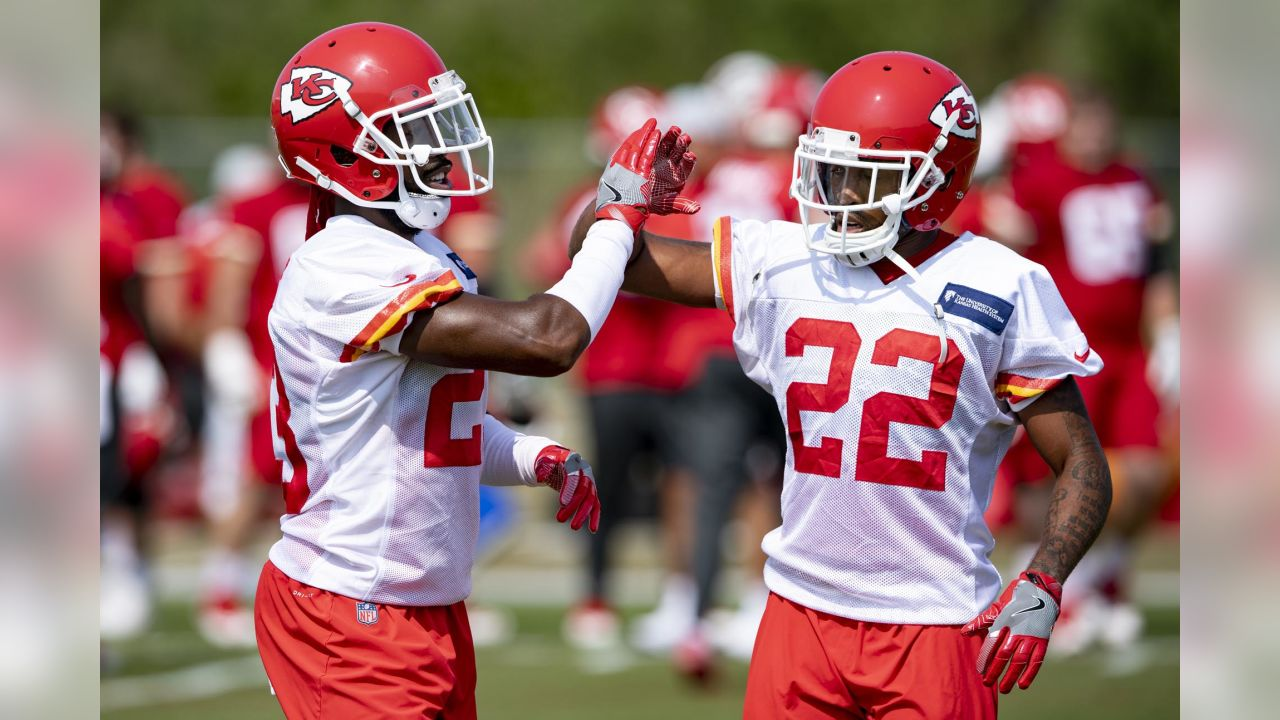 Kansas City Chiefs cornerback Kendall Fuller (23) and Kansas City Chiefs defensive back Orlando Scandrick (22) during practice on 8/22/18