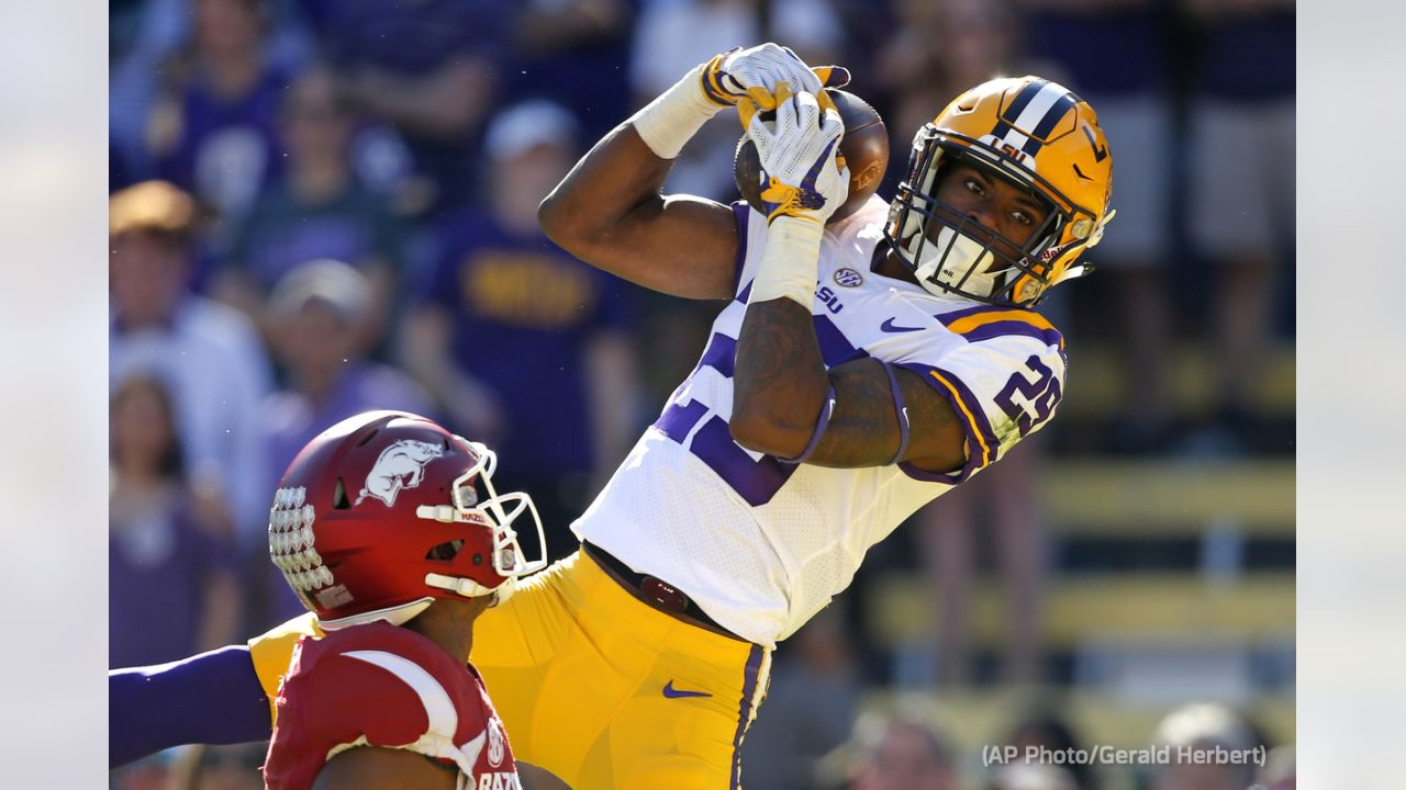 """**Selection:** Greedy Williams, CB, LSU  **Expert:** Peter King, NBC Sports  **Analysis:** """"He's 6-2 and runs a 4.37 time in the 40-yard dash. What's not to like?""""  (AP Photo/Gerald Herbert)"""