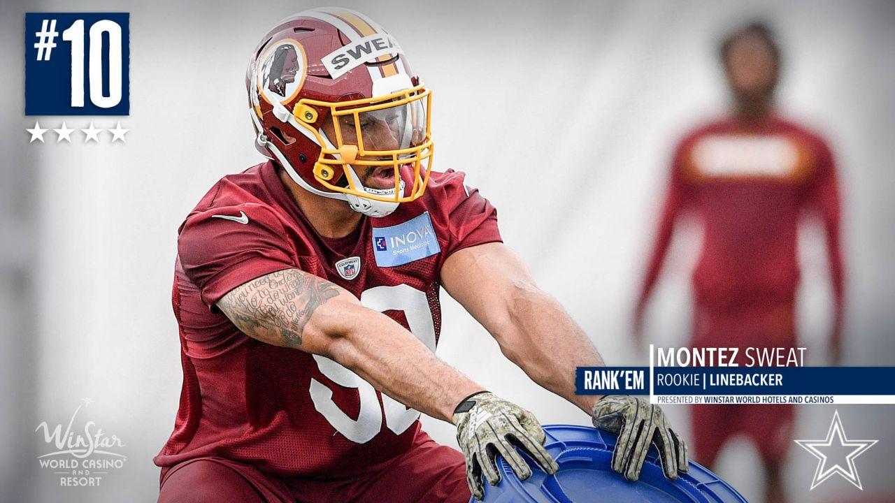 **10\. Montez Sweat:** One of my favorite players coming out of the 2019 NFL Draft. Stacked opportunity on opportunity his senior season. Outstanding in the Senior Bowl/Combine. Played as a defensive end at Mississippi State and now making the transition to linebacker. Don't feel this will be a problem for him. The majority of his snaps will be rushing the passer opposite Ryan Kerrigan. Explosive quickness. Can turn the corner in a hurry. When he dips his shoulder he can capture that edge. Disruptive in the pocket. Looks slight on tape with his build but plays strong. When he extends on blockers he can control them. Hard guy to block when he plays on the move. Doesn't give the blocker much of a hitting surface. Don't see much of a learning curve for him in the NFL. Could envision him as a Defensive Rookie of the Year candidate.  1.