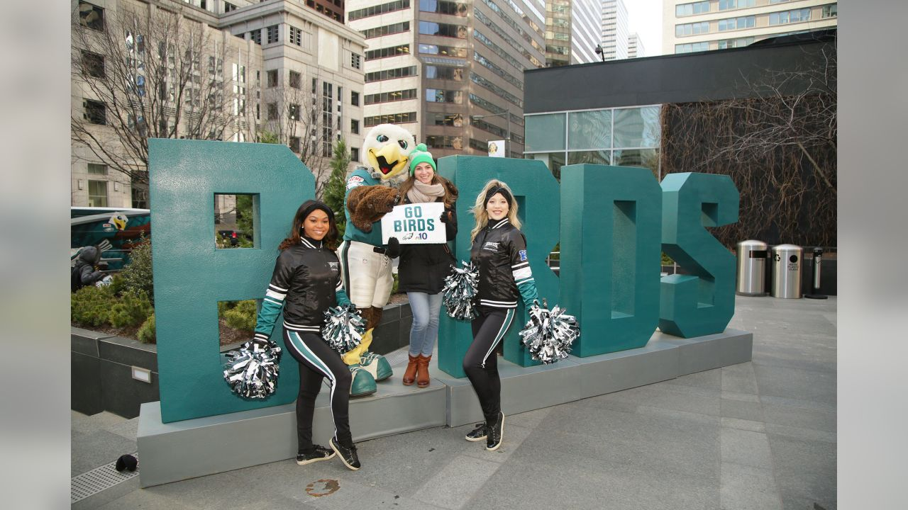 SWOOP, Eagles Cheerleaders, Pep Band, legends were on hand for Eagles Headquarters at the Comcast Center