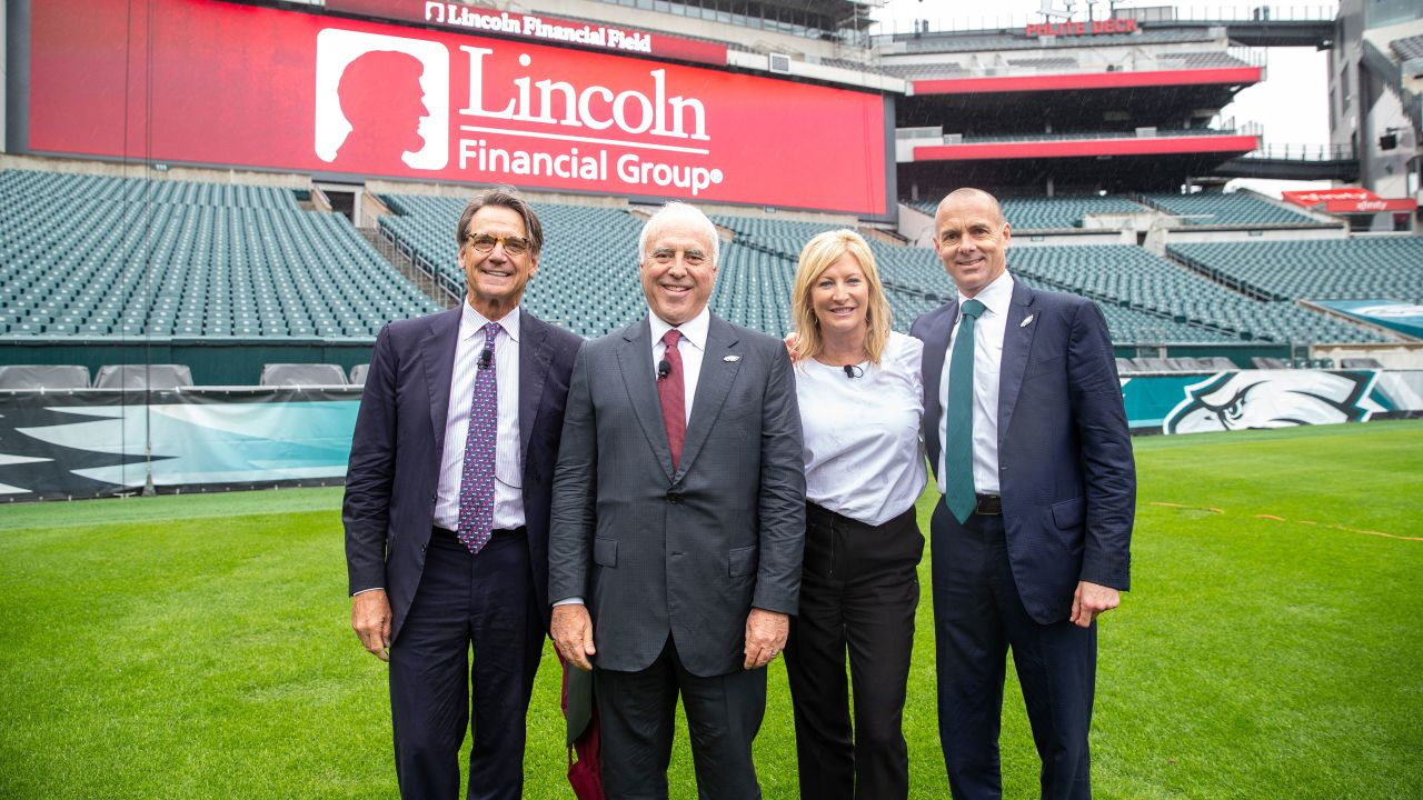Eagles Chairman and CEO Jeffrey Lurie, Lincoln Financial Group President and CEO Dennis Glass, Lincoln Financial Group Executive Vice President and Chief People, Place and Brand Officer Lisa Buckingham, and Eagles President Don Smolenski