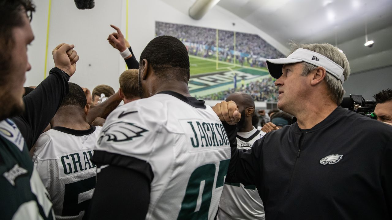 Head coach Doug Pederson brings the team together during the final practice of minicamp