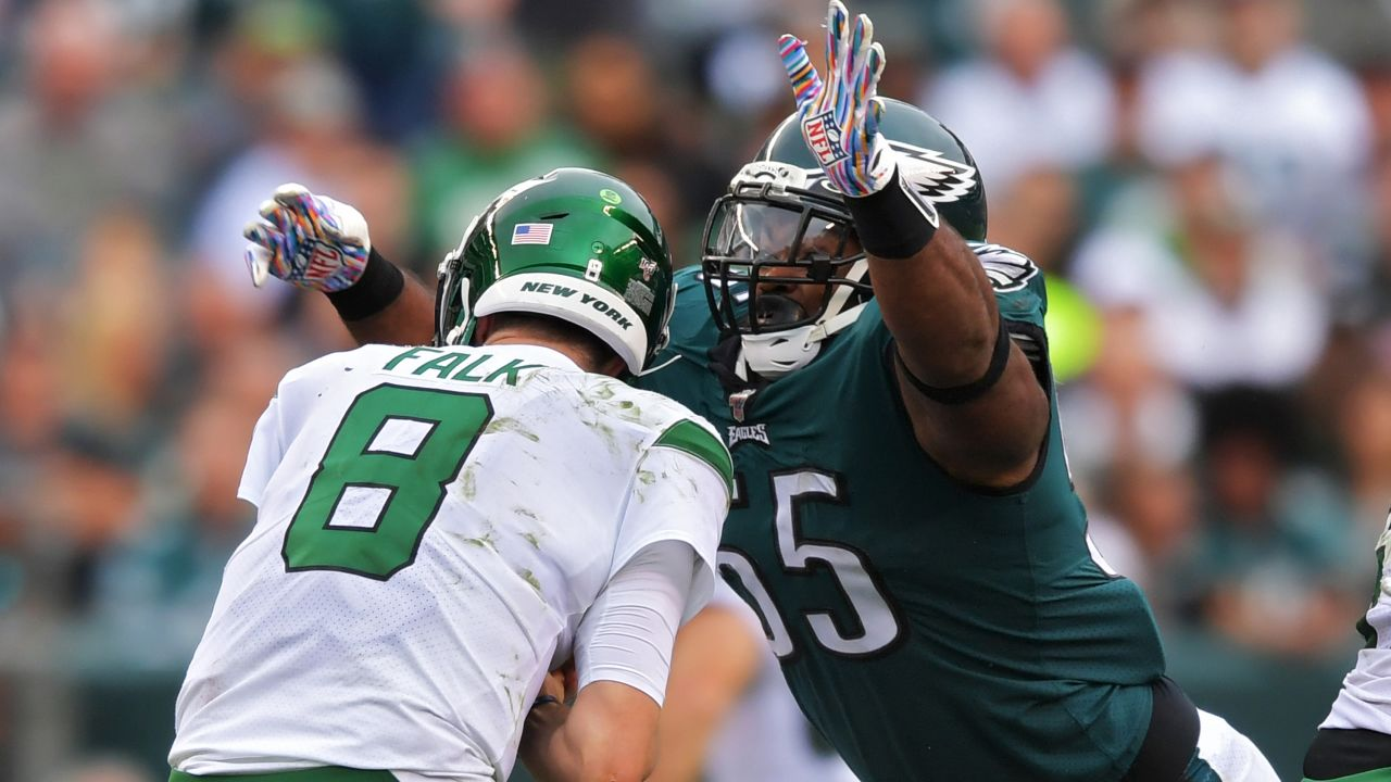 DE Brandon Graham recorded three sacks against the Jets