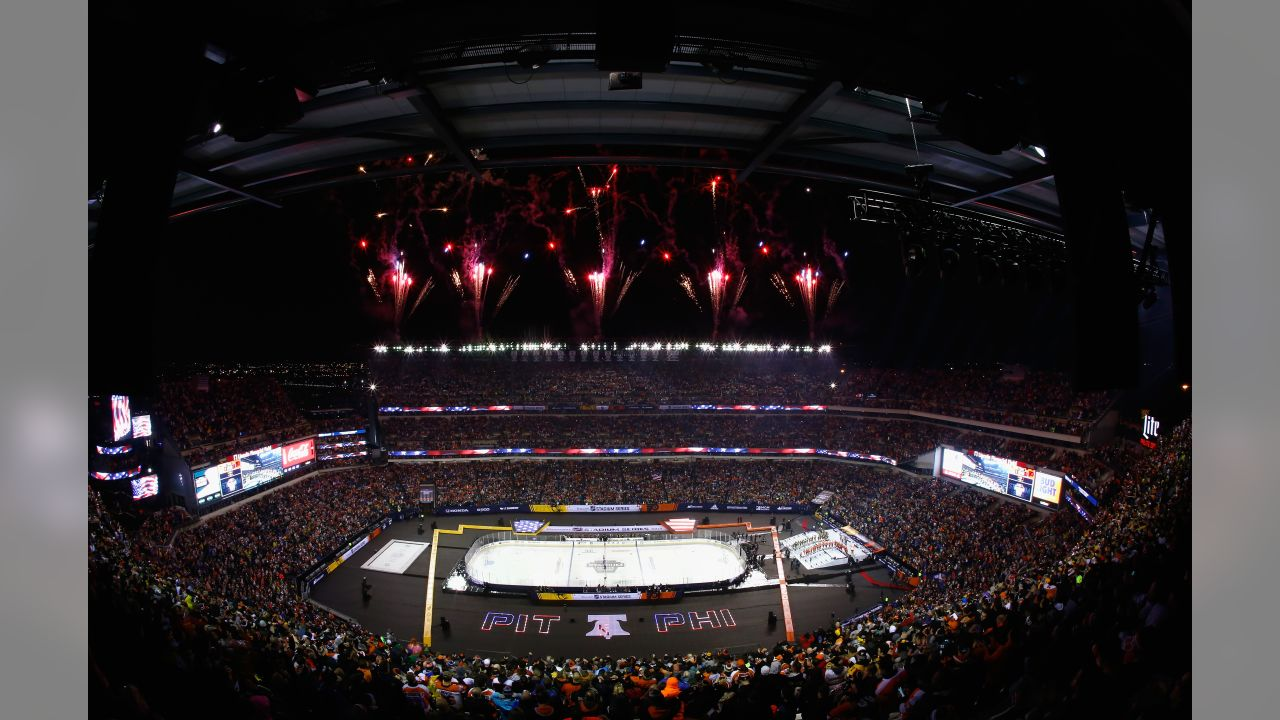 Fireworks going off before the Stadium Series