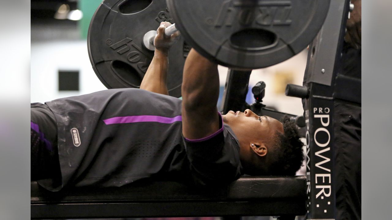Penn State running back Saquon Barkley competes in the bench press at the 2018 NFL football scouting combine Thursday, March 1, 2018, in Indianapolis. (AP Photo/Gregory Payan)