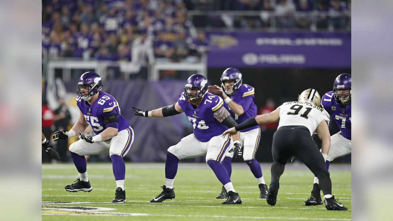 Minnesota Vikings offensive lineman Mike Remmers (74) pass blocks during an NFC Divisional Playoff game against the New Orleans Saints on Sunday, Jan. 14, 2018 in Minneapolis, Minn. The Vikings won the game, 29-24. (Greg Trott via AP)