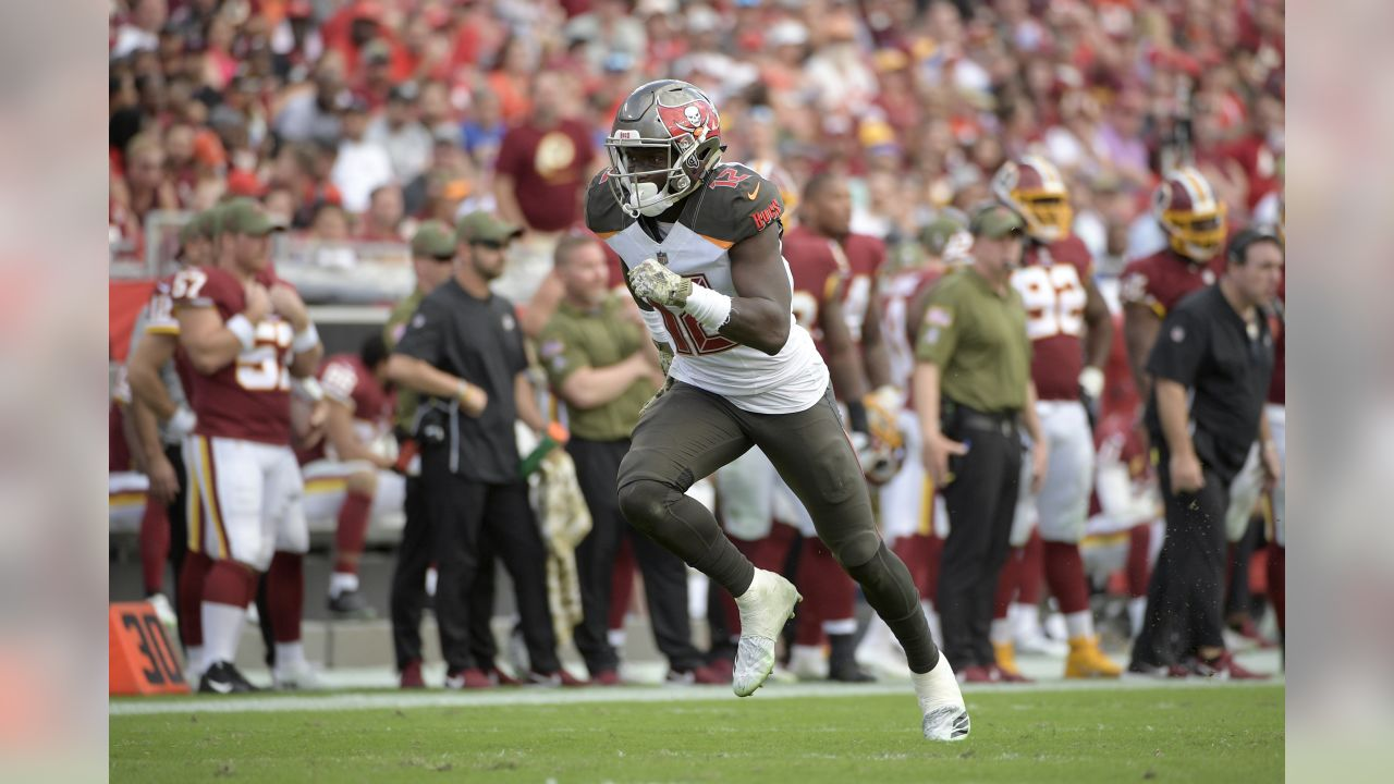 Tampa Bay Buccaneers wide receiver Chris Godwin (12) runs a route during the second half of an NFL football game against the Washington Redskins Sunday, Nov. 11, 2018, in Tampa, Fla. (AP Photo/Phelan M. Ebenhack)