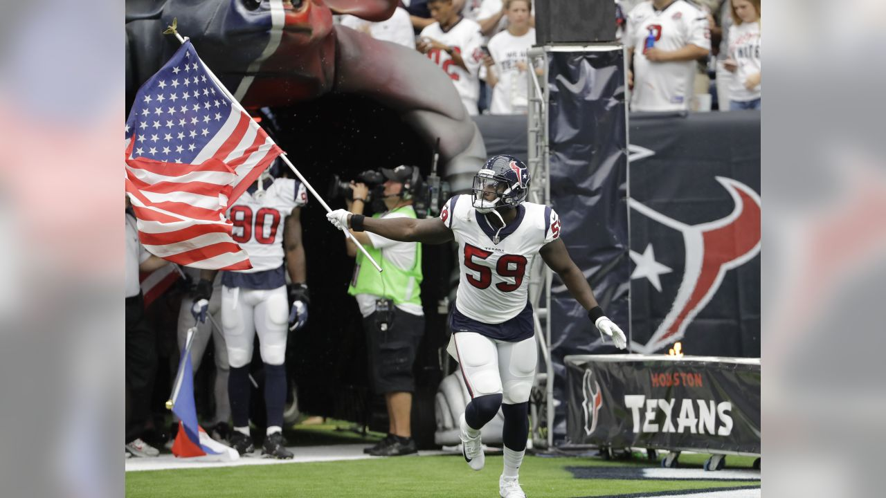 Houston Texans outside linebacker Whitney Mercilus (59) is introduced prior to an NFL football game Sunday, Sept. 10, 2017, in Houston. (AP Photo/David J. Phillip)