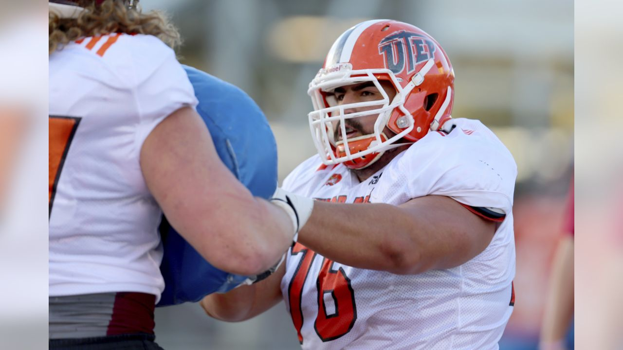 North Squad OG Will Hernandez of UTEP (76) runs drills during the North team's practice for Saturday's Senior Bowl college football game in Mobile, Ala.,Tuesday, Jan. 23, 2018. (AP Photo/Butch Dill)