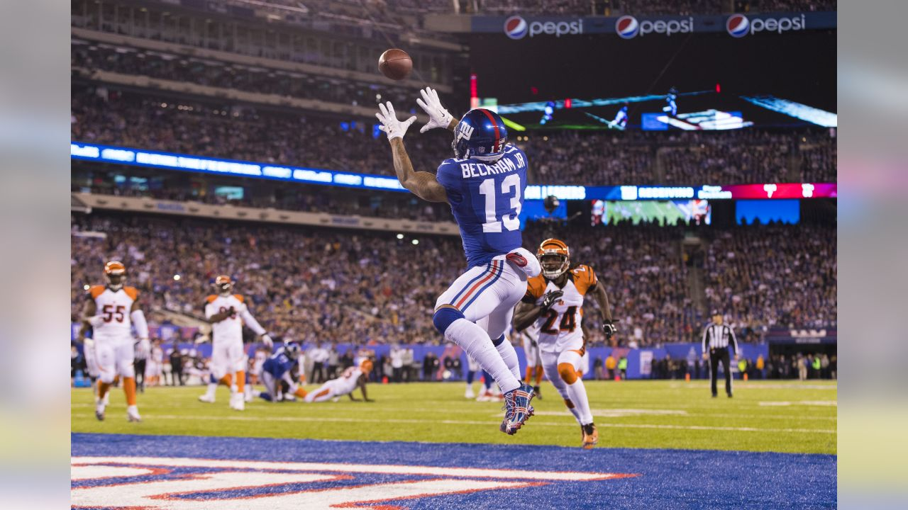 New York Giants wide receiver Odell Beckham (13) touchdown during the NFL regular season game against the Cincinnati Bengals on Monday, Nov. 14, 2016 in East Rutherford, N.J. The Giants won, 21-20. (Ric Tapia via AP)
