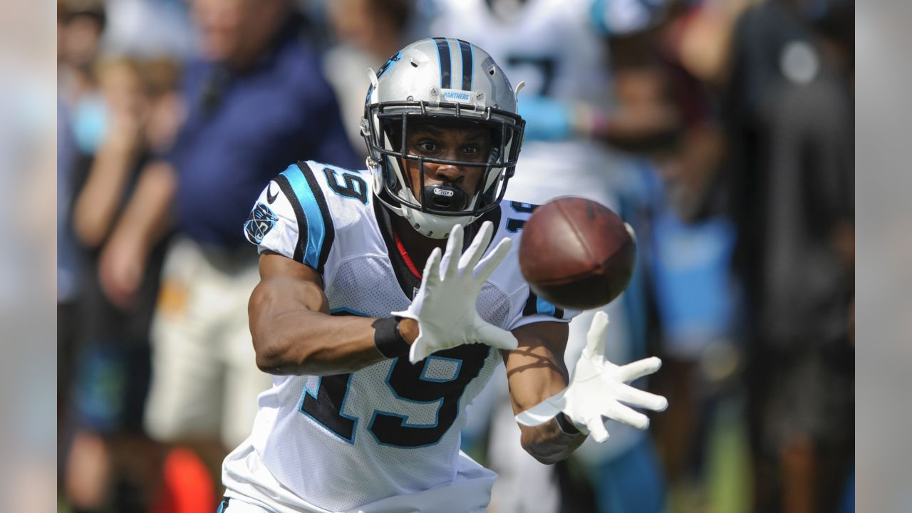 Carolina Panthers wide receiver Russell Shepard (19) warms up before the start of an NFL football game against the Buffalo Bills in Charlotte, N.C., Sunday, Sept. 17, 2017. (AP Photo/Mike McCarn)