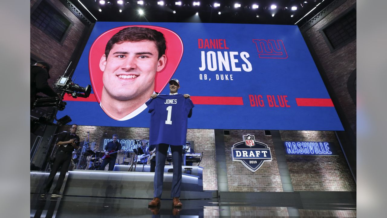 Duke quarterback Daniel Jones poses after the New York Giants selected Jones in the first round during the 2019 NFL Draft on Thursday, April 25, 2019 in Nashville, Tenn. (Perry Knotts/NFL)