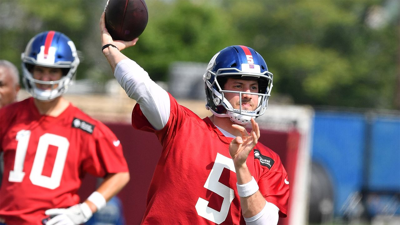 QB DAVIS WEBB: For the second consecutive year, the Giants drafted a quarterback to learn from and maybe someday take over for Eli Manning. This year, it was fourth-rounder Kyle Lauletta. In 2017, it was Davis Webb in the third round. Webb will look to hold onto his backup role as he has worked with the second team throughout spring.