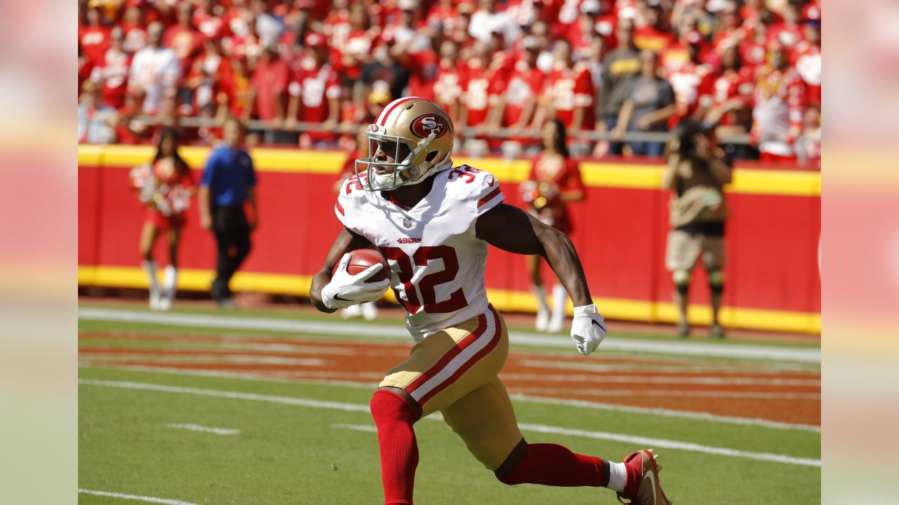 San Francisco 49ers defensive back D.J. Reed Jr. (32) carries the ball during the first half of an NFL football game against the Kansas City Chiefs in Kansas City, Mo., Sunday, Sept. 23, 2018. (AP Photo/Charlie Riedel)