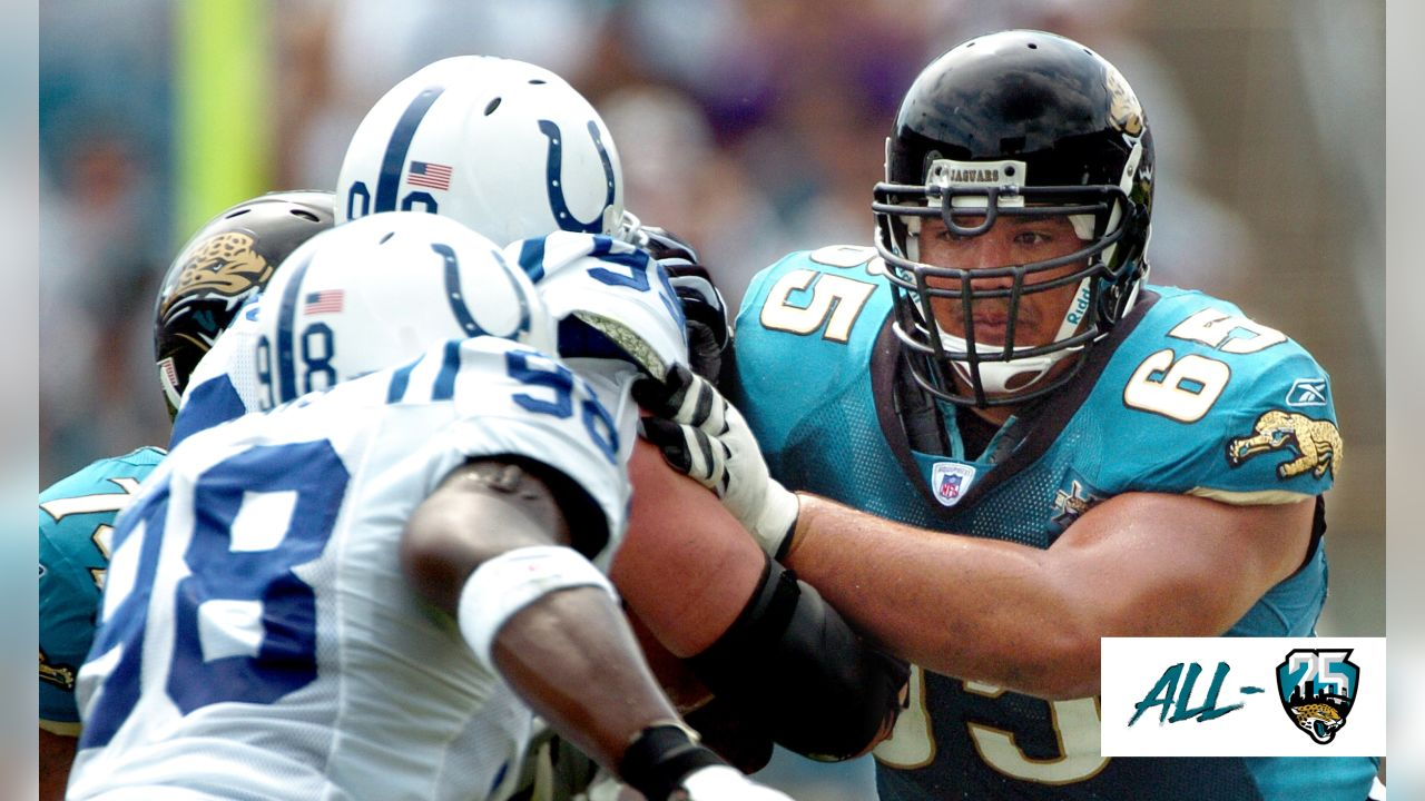 Jacksonville Jaguars offensive guard #65 Chris Naeole (right) blocks during the first quarter of the Jags 24-17 defeat to the Indianapolis Colts Sunday October 3, 2004 at Alltel Stadium in Jacksonville, Fl.