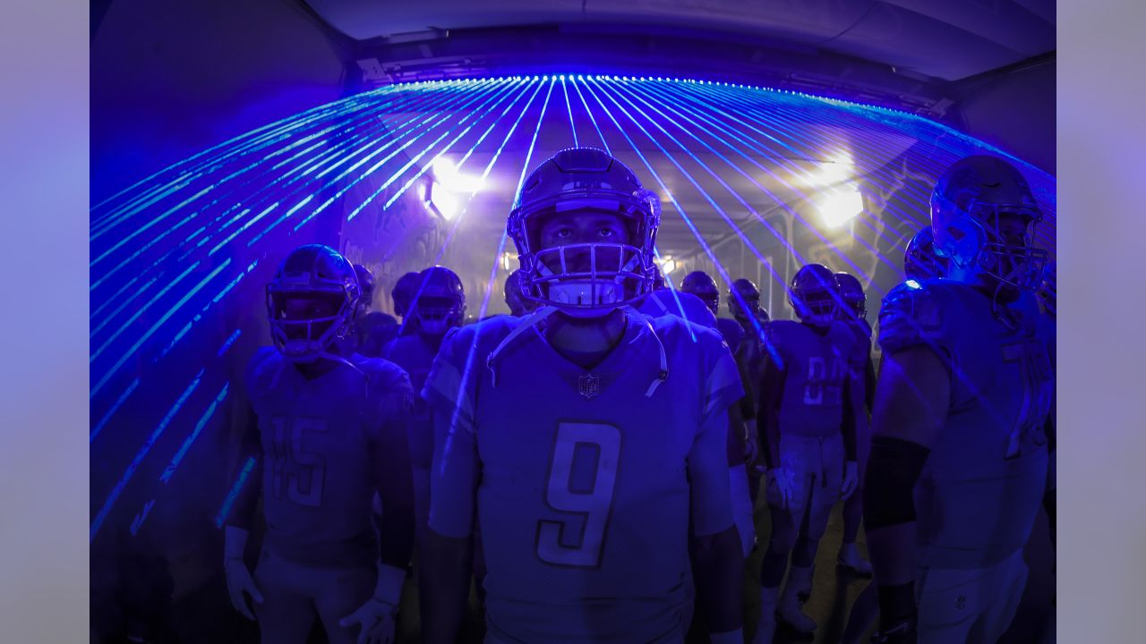 Detroit Lions players in the tunnel before a NFL football game against the New England Patriots on Sunday, Sept. 23, 2018 in Detroit. (Detroit Lions via AP).