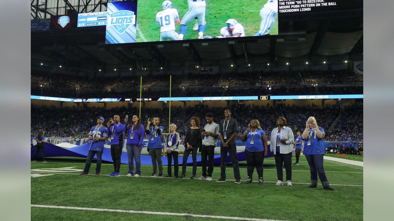 Pride of the Lions induction ceremony during halftime of a NFL football game against the Seattle Seahawks on Sunday, Oct. 28, 2018 in Detroit. (Detroit Lions via AP).