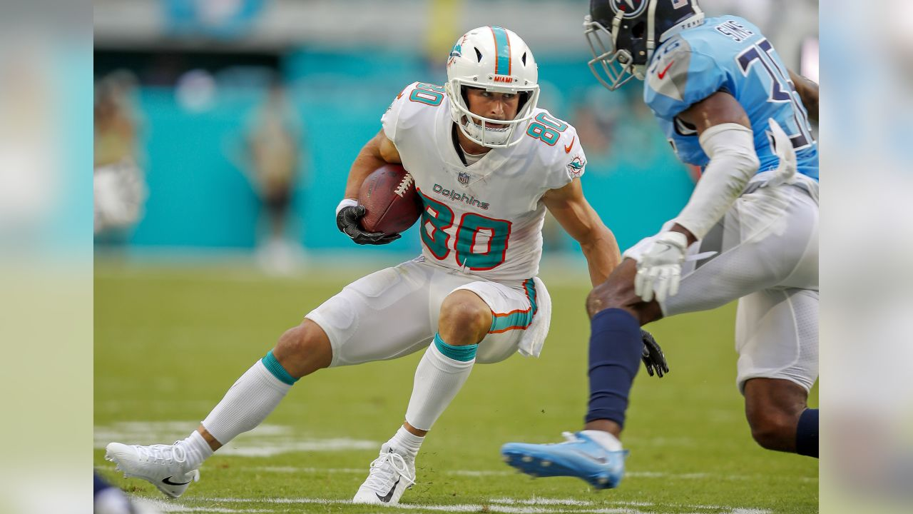 Miami Dolphins wide receiver Danny Amendola (80) runs the ball during an NFL football game against the Tennessee Titans, Sept. 9, 2018, in Miami Gardens, Fla. ( Tom DiPace via AP)