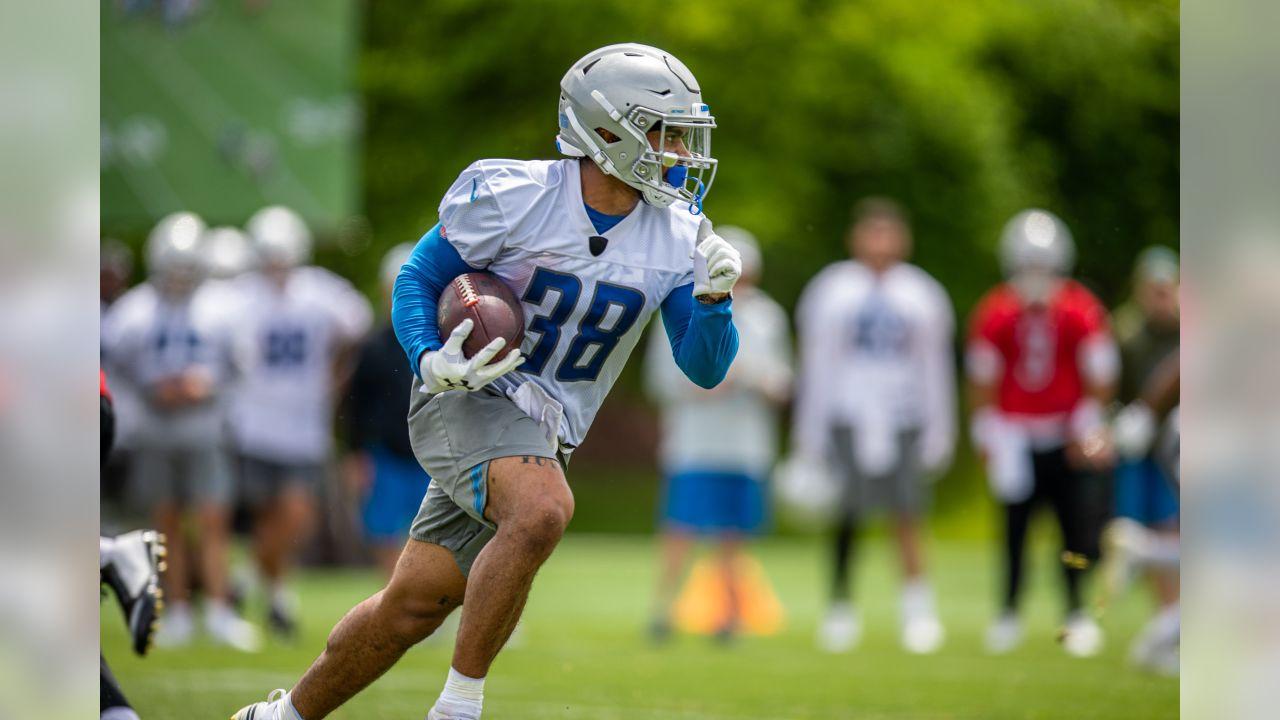 Detroit Lions running back Ty Johnson (38) during Day 2 of minicamp on Wednesday, June 5, 2019 in Allen Park, Mich. (Detroit Lions via AP)