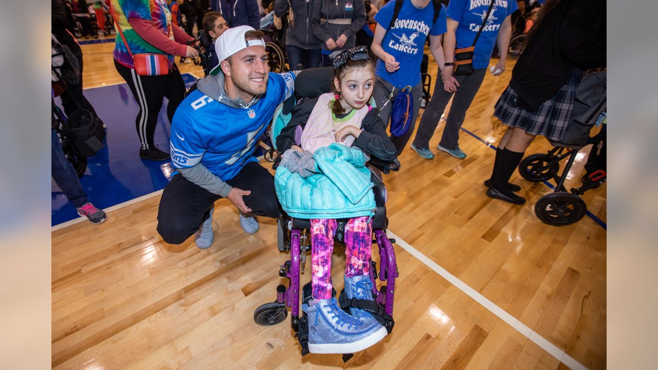 Detroit Lions punter Sam Martin (6) at a Macomb Special Olympics event on Wednesday, May 8, 2019 at Macomb Community College in Warren, Mich. (Detroit Lions via AP)