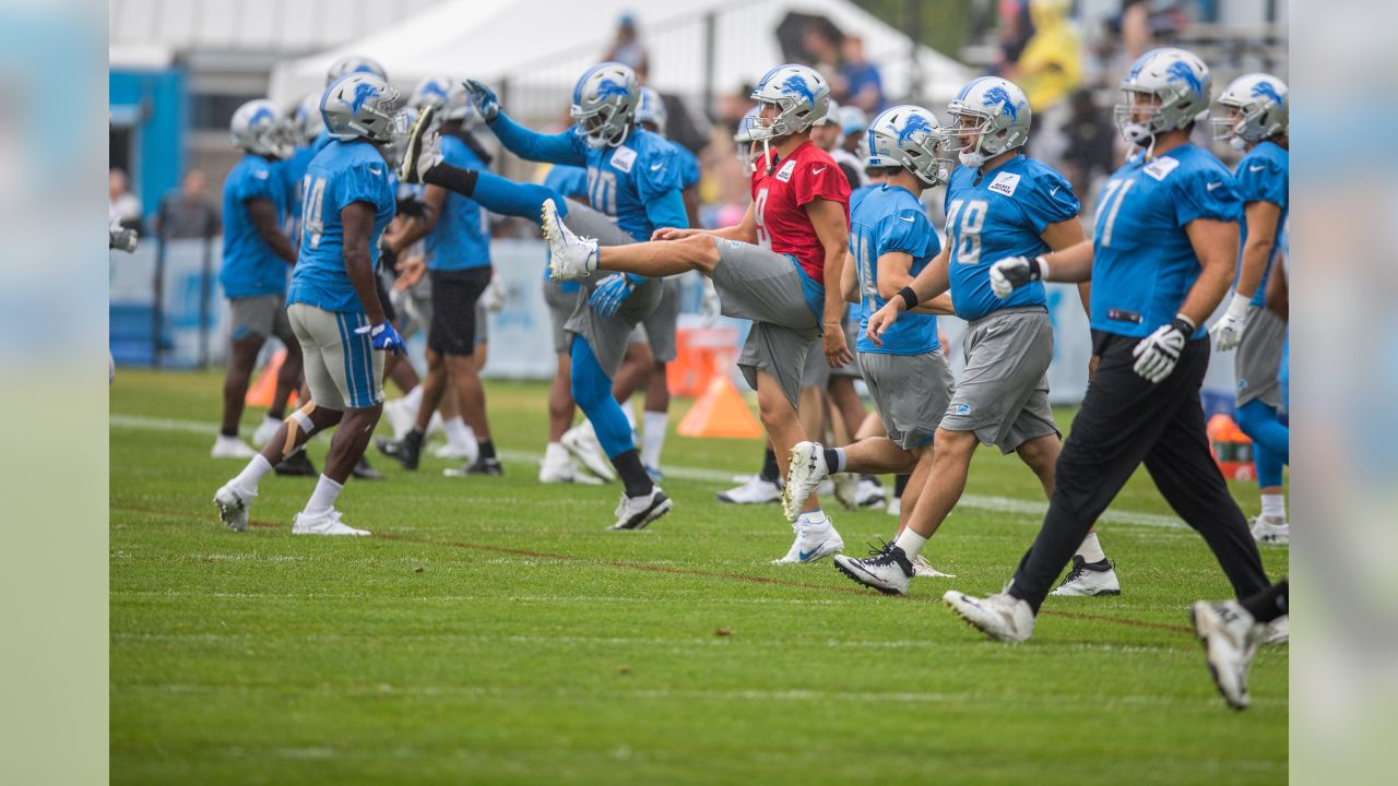 Detroit Lions quarterback Matthew Stafford (9) stretches before training camp practice on Thursday, Aug. 16, 2018 in Allen Park, Mich. (Detroit Lions via AP)