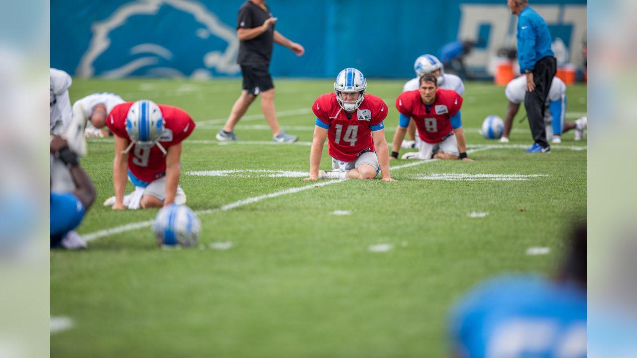 Detroit Lions quarterbacks stretch before practice at the Detroit Lions training facility on Tuesday, Aug. 28, 2018 in Allen Park, Mich. (Detroit Lions via AP)