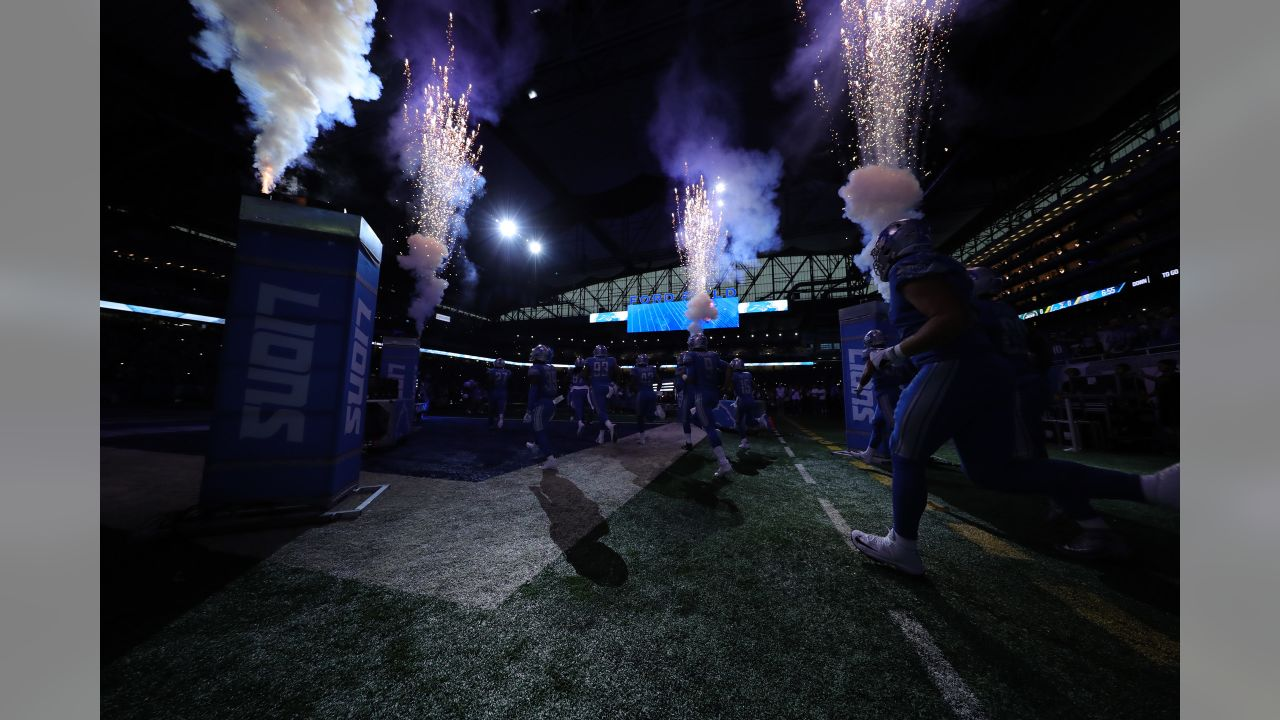 Detroit Lions take the field during introductions before a NFL football game against the New York Jets on Monday, Sept. 10, 2018 in Detroit. (Detroit Lions via AP).