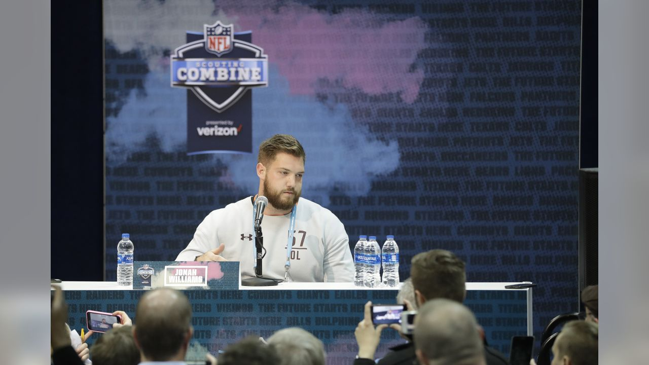 Alabama offensive lineman Jonah Williams speaks during a press conference at the NFL football scouting combine, Thursday, Feb. 28, 2019, in Indianapolis. (AP Photo/Darron Cummings)