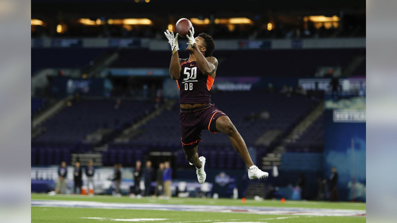 Boston College defensive back Will Harris participates in a drill during the NFL football scouting combine on Monday, March 4, 2019 in Indianapolis. (Aaron M. Sprecher via AP)