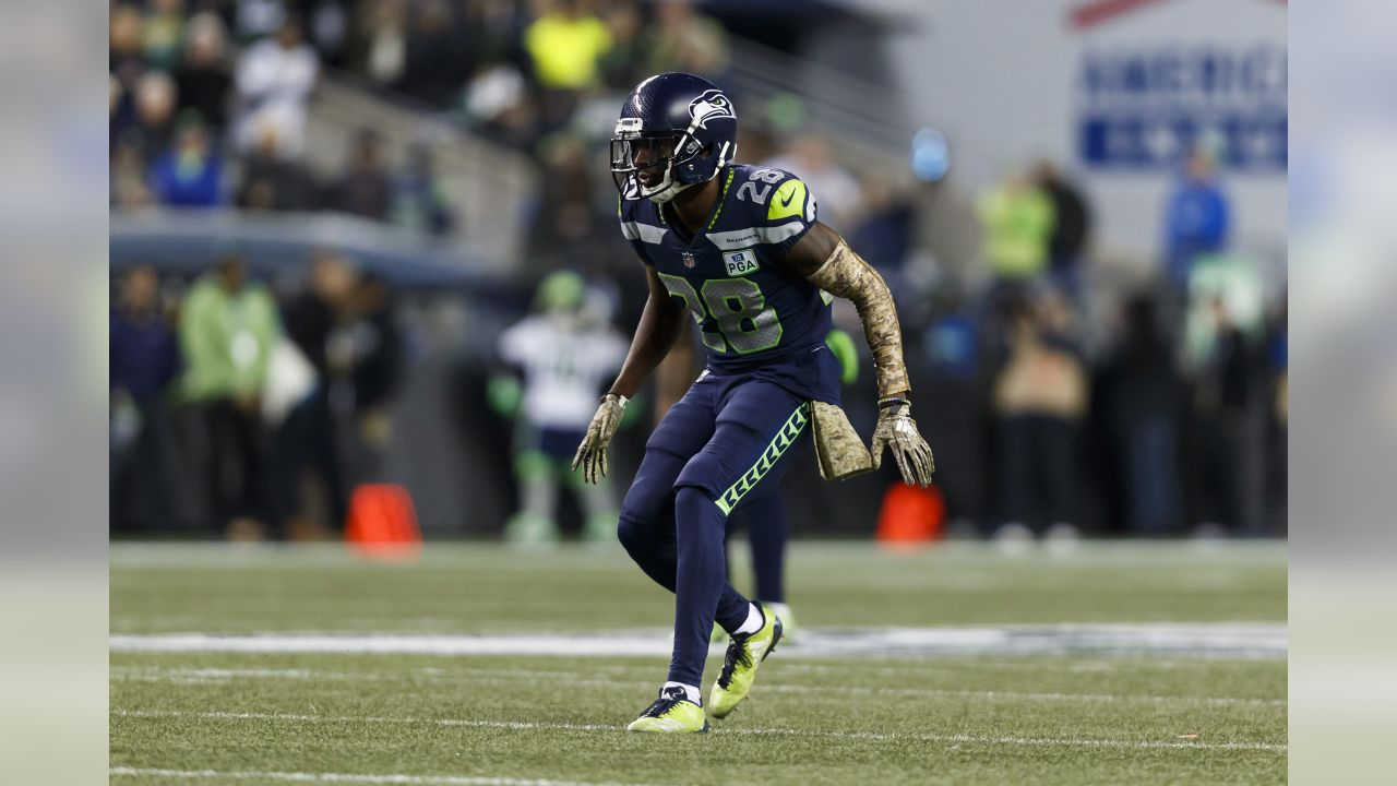 Seattle Seahawks cornerback Justin Coleman (28) in action during an NFL football game against the Green Bay Packers on Thursday, Nov. 15, 2018, in Seattle. The Seahawks defeated the Packers, 27-24. (Ryan Kang via AP)