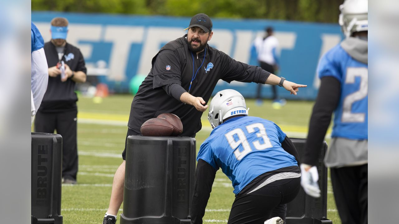 Detroit Lions head coach Matt Patricia during Day 3 of OTAs on Thursday, May 23, 2019 in Allen Park, Mich. (Detroit Lions via AP)