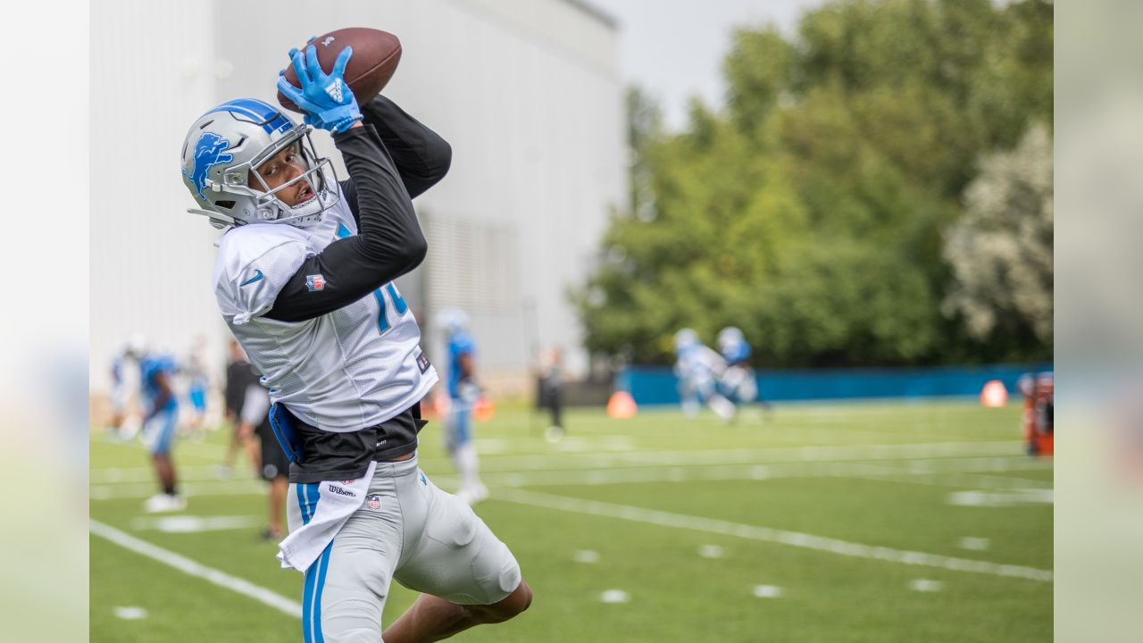 Detroit Lions wide receiver Kenny Golladay (19) during practice at the Detroit Lions training facility on Monday, Aug. 20, 2018 in Allen Park, Mich. (Detroit Lions via AP)