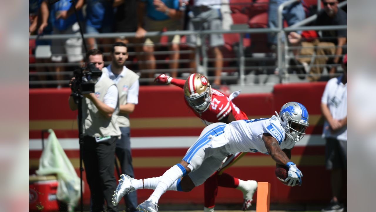 Detroit Lions wide receiver Kenny Golladay (19) catches a 30-yard touchdown pass during a NFL football game against the San Francisco 49ers on Sunday, Sept. 16, 2018 in Santa Clara, Calif. (Detroit Lions via AP).