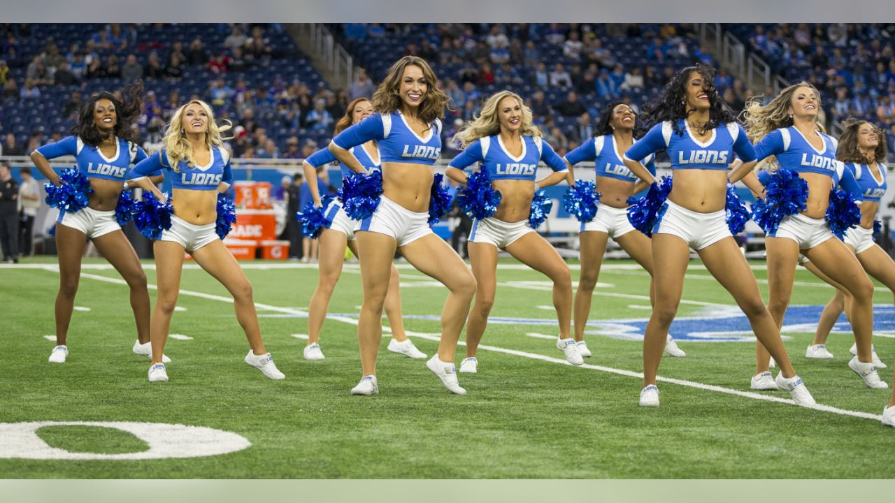 Detroit Lions cheerleaders perform during a NFL football game against the Minnesota Vikings on Sunday, Dec. 23, 2018 in Detroit. (Detroit Lions via AP).