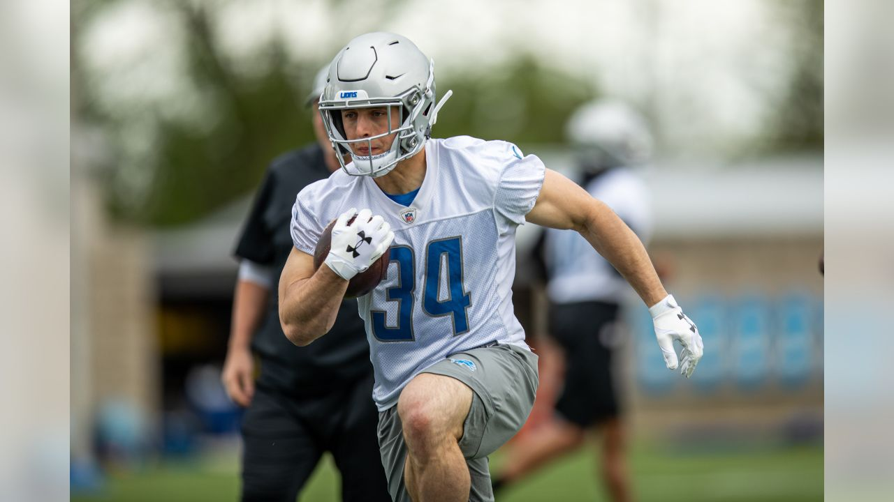 Detroit Lions running back Zach Zenner (34) during Day 1 of OTAs on Monday, May 20, 2019 in Allen Park, Mich. (Detroit Lions via AP)
