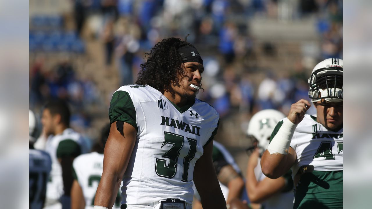 Hawaii Warriors linebacker Jahlani Tavai (31) in the second half of an NCAA college football game Saturday, Oct. 22, 2016, at Air Force Academy, Colo. Hawaii won 34-27 in double overtime. (AP Photo/David Zalubowski)