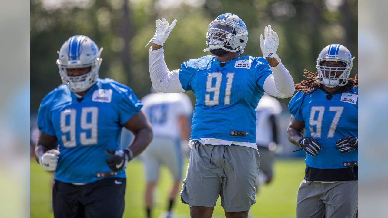 Detroit Lions defensive tackle A'Shawn Robinson (91) during practice at the Detroit Lions training facility on Wednesday, Aug. 22, 2018 in Allen Park, Mich. (Detroit Lions via AP)