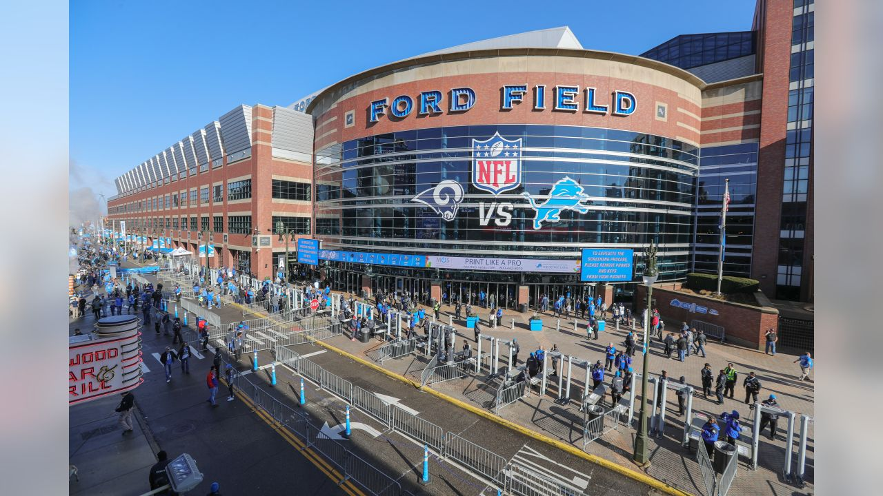 Exterior view of Ford Field Gate A before a NFL football game against the Los Angeles Rams on Sunday, Dec. 2, 2018 in Detroit. (Detroit Lions via AP).