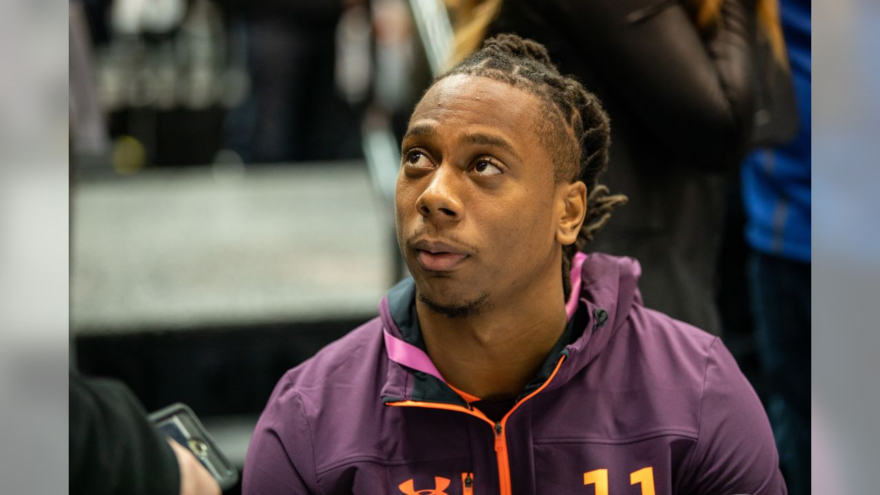 Auburn wideout Ryan Davis talks to the media at the NFL Scouting Combine on Friday, March 1, 2019 in Indianapolis. (Detroit Lions via AP)