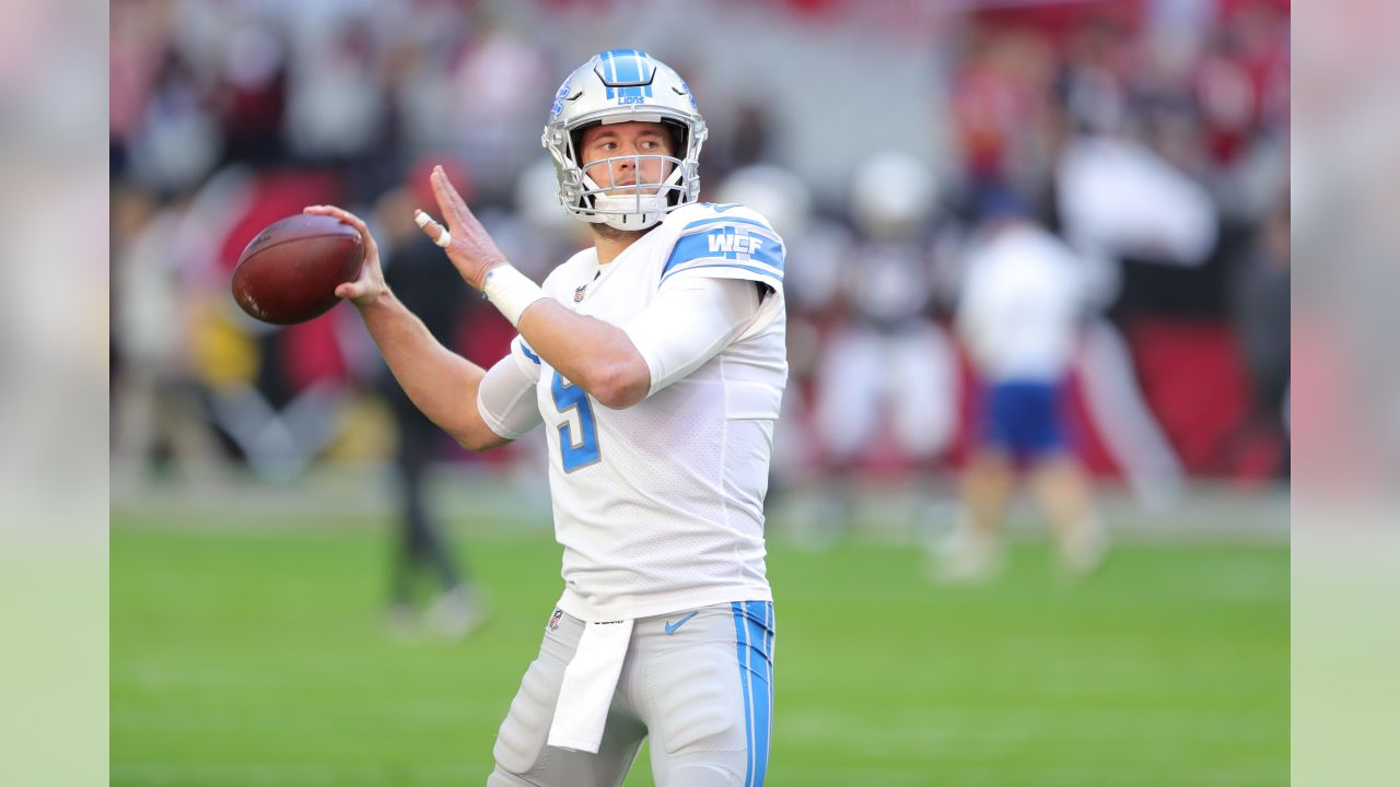 Detroit Lions quarterback Matthew Stafford (9) before a NFL football game against the Arizona Cardinals on Sunday, Dec. 9, 2018 in Glendale, Ariz. (Detroit Lions via AP).