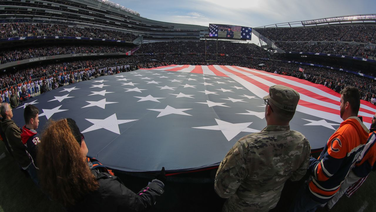 National Anthem before a NFL football game against the Chicago Bears on Sunday, Nov. 11, 2018 in Chicago. (Detroit Lions via AP).