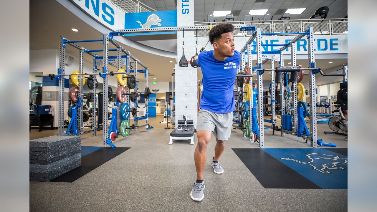 Detroit Lions cornerback Jamal Agnew during the voluntary offseason workout program at the Detroit Lions training facility on Tuesday, April 16, 2019 in Allen Park, Mich. (Detroit Lions via AP)