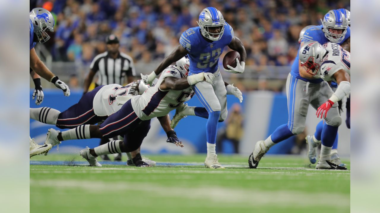 Detroit Lions running back Kerryon Johnson (33) during a NFL football game against the New England Patriots on Sunday, Sept. 23, 2018 in Detroit. (Detroit Lions via AP).